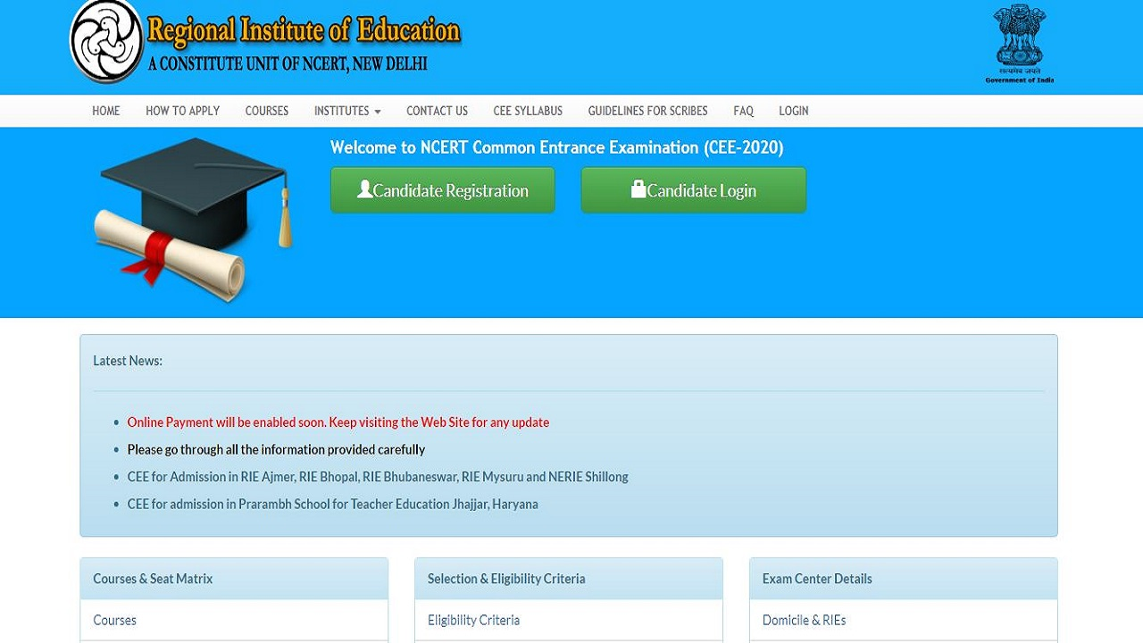 NCERT RIE CEE Application Process 2020 Begins, Get Details Here